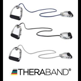 TheraBand szivacsos fogantyús gumikötél 1,4 m - haladó csomag (3 db-os, kék, fekete, ezüst)
