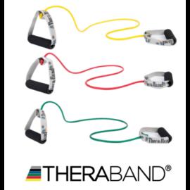 TheraBand szivacsos fogantyús gumikötél 1,4 m - kezdő csomag (3 db-os, sárga, piros, zöld)
