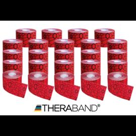 TheraBand kineziológiai tape piros fekete mintával, 5 cm x 5 m - 24 db / 1 doboz