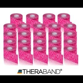 TheraBand kineziológiai tape rózsaszín / fehér mintával, 5 cm x 5 m - 24 db / 1 doboz