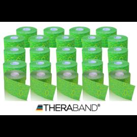 TheraBand kineziológiai tape zöld / sárga mintával, 5 cm x 5 m - 24 db / 1 doboz