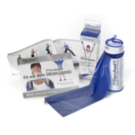 TheraBand™ Erősítő gumiszalag cipzáras tokban 2,5 m, extra erős, kék + ajándék gyakorlatfüzet