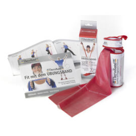 TheraBand™ Erősítő gumiszalag cipzáras tokban 2,5 m, közepes, piros+ajándék gyakorlatfüzet