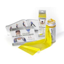 TheraBand™ Erősítő gumiszalag cipzáras tokban 2,5 m, gyenge, sárga+ajándék gyakrolatfüzet