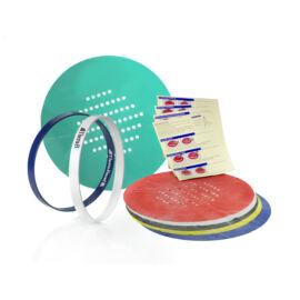 Kézerősítő szita szett (6 db különböző erősségű gumilap, kör alakú kerettel)