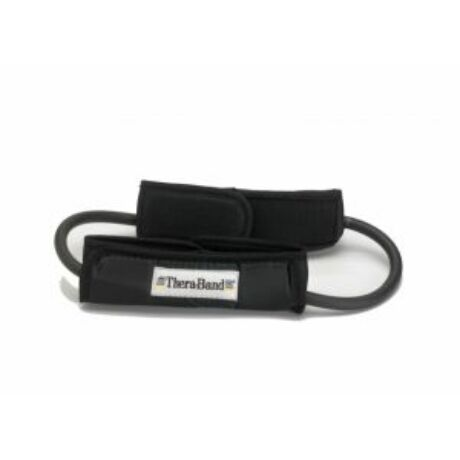 TheraBand™ Gumikötél hurok lábrögzítővel, szuper erős, fekete