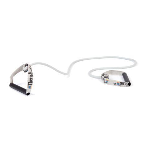 TheraBand™ Erősítő gumikötél merev fogantyúval 1,4 m, speciálisan erős, ezüst