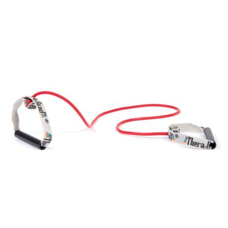 TheraBand™ Erősítő gumikötél merev fogantyúval 1,4 m, közepes, piros