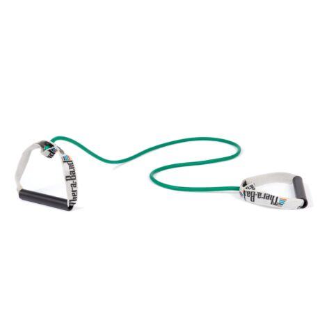 TheraBand™ Erősítő gumikötél merev fogantyúval 1,4 m, erős, zöld